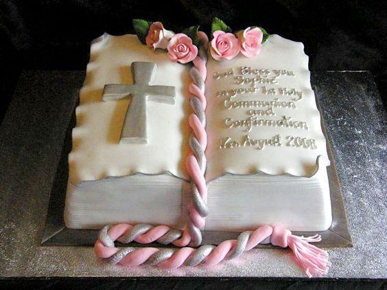pasteles de primera comunion rectangulares