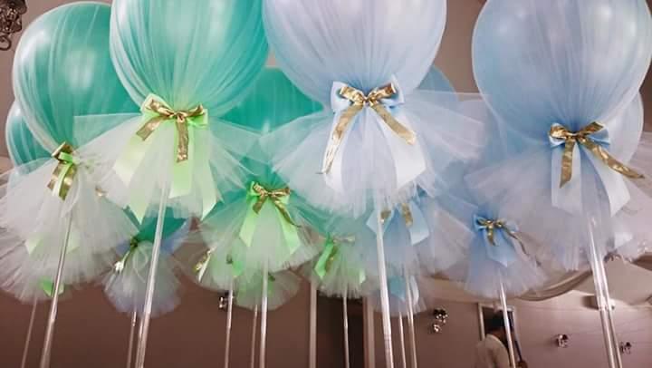 Globos con tul para baby shower