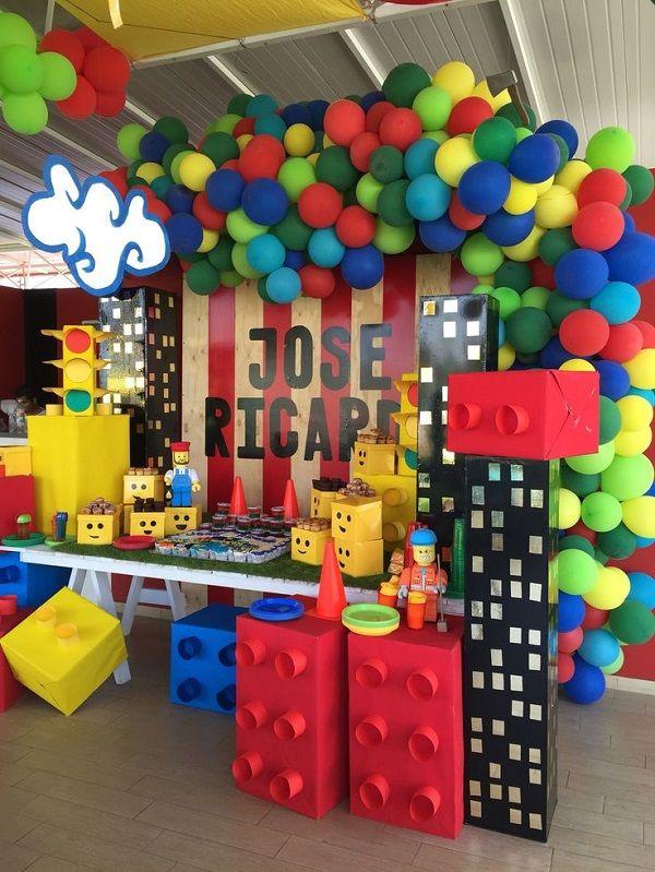 Decoración fiesta de lego