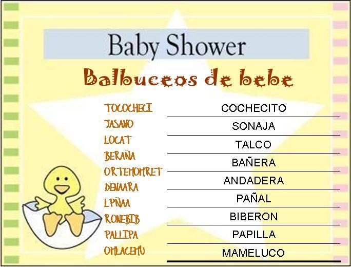 Juegos baby shower para imprimir