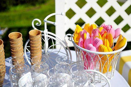Accesorios para decorar la mesa de helados
