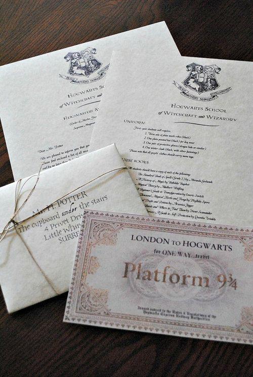 Cartas de Hogwarts como invitaciones