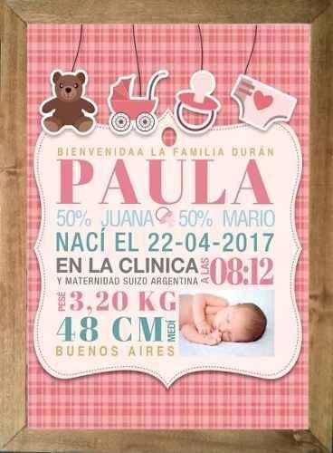 Cuadro de datos para el bebé