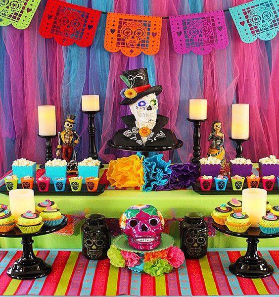 Mesa dulce al estilo del Halloween mexicano